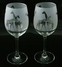 New etched Giraffes gift Wine Glasses tulip classic shape.Boxed