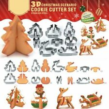 8Pcs Stainless Steel 3D Christmas Biscuit Pastry Cookie Cutter Cake Baking Molds