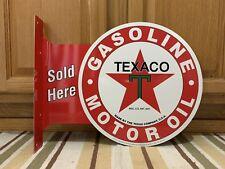 Texaco Motor Oil Gas Sold Here Vintage Style Flange Garage Man Cave Metal Signs