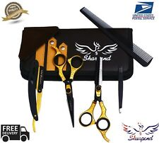 Gold 6.5' Barber Hair Cutting Scissor Shaving Razor Finger Ring Stylist Handle