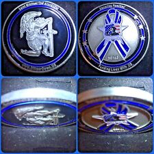 Officer Down US Challenge Coin with Saint Michael & Thin Blue Line Ribbon Police