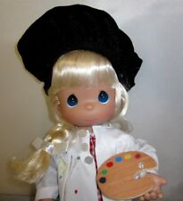 """Precious Moments Color My World 13"""" Artist Painter Blonde Doll New Black Beret"""