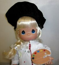 "Precious Moments Color My World 12"" Artist Painter Blonde Doll New Black Beret"