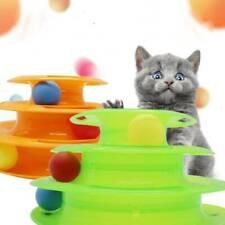 Katzen Spielturm Spielzeug mit Bällen Kreisel Kugelbahn Haustier 2 Farbwahl HO