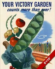 WWII UNITED STATES VICTORY GARDEN PROPAGANDA POSTER REAL CANVAS WAR ART PRINT