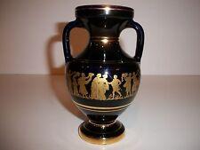 Neofitoy Keramik Greece 24K Gold on Cobalt Porcelain Vase