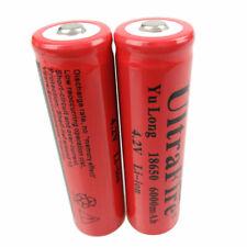 2PCS Battery 3.7V-4.2V 18650 Li-ion 6000mAh Rechargeable for Flashlight Camping