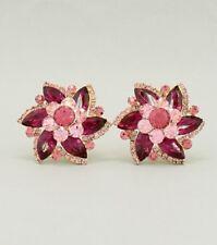 "1.50"" fuschia floral rhinestones crystal clip on earrings non pierced bridal"
