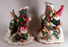 1991 Fitz & Floyd Christmas WOODLAND SANTA Elf Centerpiece Candleholder Set