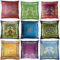 Indian Ethnic Banarasi Brocade Cushion Covers Designer Elephant 16 Inch Pillow