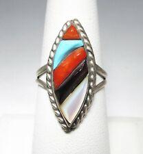 Estate Vintage Zuni Inlay Signed Richard & Geneva Terraza Ring Sz 8.5 C1760