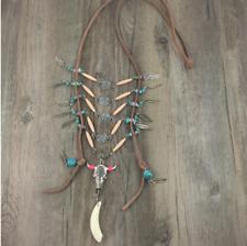 Ethnic Tibet Aztec Cow Bone Voodoo Horn Gypsy Turquoise Native Leather Necklace