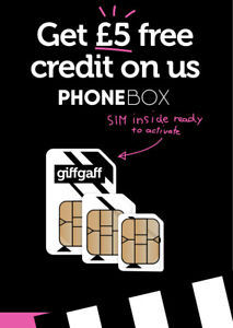Giffgaff Nano / Micro / Standard 3 in 1 SIM with £5 Credit - Fits all phones