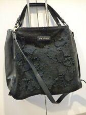 Twin Set Simona Barbieri |Black Hobo Floral Applique Black Handbag Crossbody