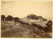 Grèce, Citadelle de Corfou, vue panoramique  Vintage albumen print  Tirage alb