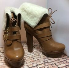 NWOT $525 Rachel Zoe Piper Shearling-Cuff Tan Leather Platform Bootie Sz 8.5