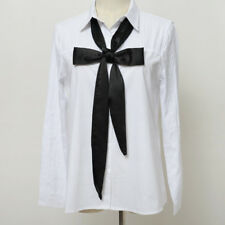 Women Skinny Satin Scarf Extra Long Slim Ribbon Belt Office Thin Tie Neck Bow