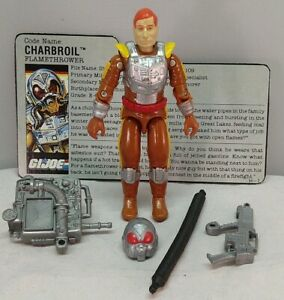 Gi Joe Charbroil v1 1988 Flamethrower Complete With File Card