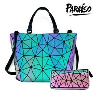 灬灬Luminous Women Geometric laser Tote Shoulder Bags Laser Plain Folding Handbags