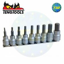 "Teng 9pc 3/8"" Drive Hex Key Bit Socket Set Metric Clip Rail Set 3-12mm M3812"