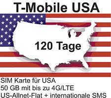 t-Mobile USA Prepaid SIM mit 50 GB 4G/LTE + int. Tel. für 120 Tage