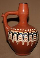Vintage folk hand made painted glazed redware pottery pitcher