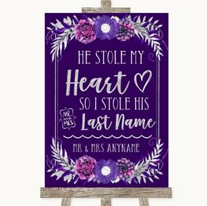 Wedding Sign Poster Print Purple & Silver Stole Last Name