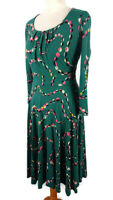 Boden 10 Green Pink Long Sleeve Scoop Neck Abstract Dress Midi Flared Winter