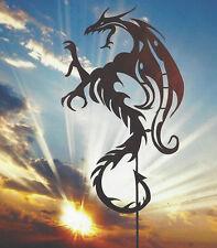 Mystischer Drache Edelrost Rost Gartenstecker Gartendeko Fabelwesen Drachen Tier
