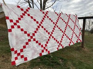 Vintage Cotton Hand Stitched Quilt Top Red and White Full Size