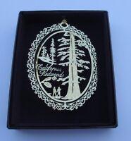 California Redwoods Brass Ornament Black Leatherette Box