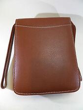 feine  Pfeifen Tasche - echt Leder - braun - Kontraststeppung - PT04