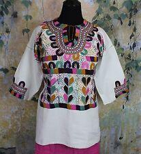 Multi-Color Muslin Corn Motif Hand Embroidered Blouse Chiapas Mexico Boho Hippie