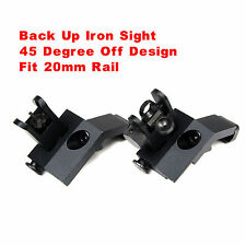 Front Rear Set Rapid Transition 45 Degree Off BUIS Flip Up Back Up Iron Sight