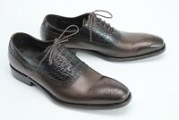 Paul Fredrick Mens Dress Shoes 10 M Brown Medallion Toe Croc Print Leather Italy