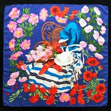 """vintage GUCCI silk scarf The Gardener's Chair with Flowers print 34"""""""