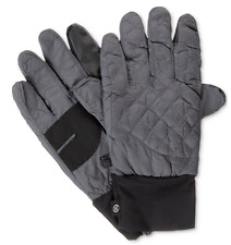 $158 ISOTONER MEN'S GRAY BLACK STRETCH THERMAL WINTER QUILTED GLOVES SIZE L/XL