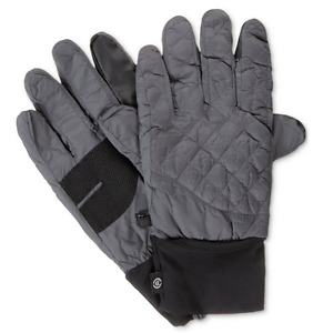 $114 Isotoner Men'S Gray Black Thermal Smartouch Stretch Winter Gloves Size S/M