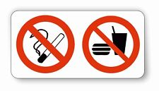 NO SMOKING / NO FOOD / DRINK  VEHICLE STICKERS - TAXI/WORK VEHICLES SELF.ADH