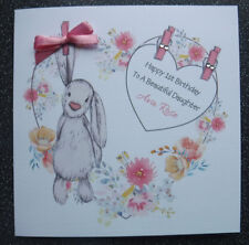 HANDMADE PERSONALISED GIRLS 1ST BIRTHDAY CARD,HEART AND BUNNY