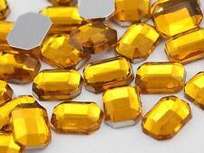 8x6mm Gold Topaz H107 Flat Back Octagon Acrylic Gemstones - 100 PCS