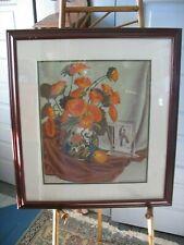 Vtg Original acrylic painting art Guy Henderson France 1945 vase Flowers