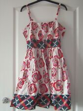 NEW LOOK - SLEEVELESS STRAPPY MINI / SHORT COTTON DRESS - SIZE 12 - WHITE / RED
