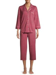 Secret Treasures Women's Soft Comfort Traditional 3/4 Sleeve Notch Collar PJ Set