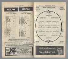 1972 VFL Football Record Carlton v Geelong May 6  Blues Cats