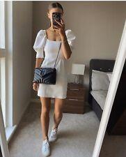 ZARA White Square Neck Puff Sleeve Mini Dress M