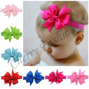 20 X Baby Girls Hairband Bow Soft Head Elastic Band Headband Hair Accessories