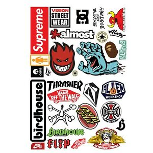 Skateboard Sticker Bomb! 25+ Stickers Surf Skate Scooter Mobile FREE P+P - Ref3