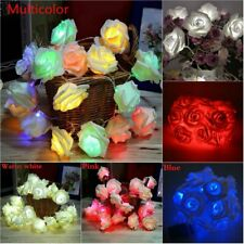20 LED Rose Flower String Light Fairy Wedding Party Waterproof Lamp Home Decor