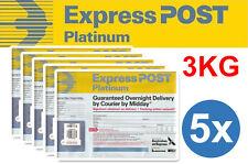 BARGAIN 5 X AUST AUSTRALIA PARCEL POST EXPRESS PLATINUM 3KG PREPAID SATCHEL bag